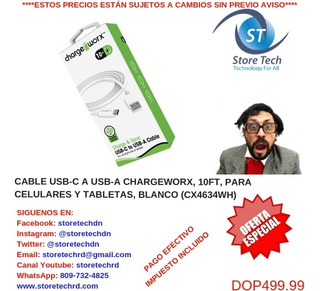 Cable Usb-c A Usb-a Chargeworx, 10ft, Para Celulares Y Table