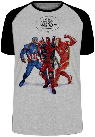 Camiseta Luxo Dead Pool Homem Ferro Capitão America Marvel