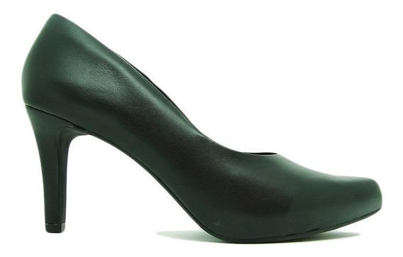 Sapato Scarpin Usaflex Ac3802 Couro Salto Fino Conforto