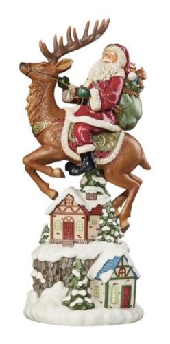 Santa Claus 50cm Con Luces Cabalgando Reno Adorno Navideño