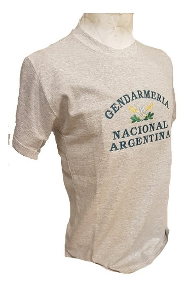 Remera Gris Con Logo Gendarmería Nacional Argentina