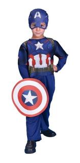 Disfraz Capitan America Original Trae Escudo Y Capucha