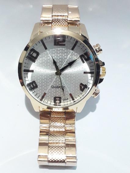Relógio Masculino De Pulso Quartz Dourado Prata