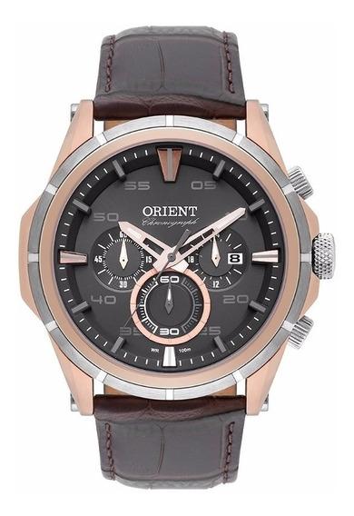 Relógio Orient Masculino De Couro Cronógrafo Mtscc026