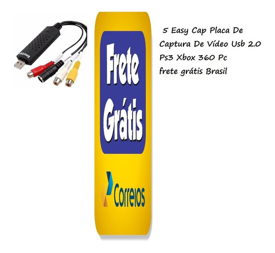 5 Placa De Captura De Vídeo Usb 2.0 Ps3 Xbox 360 Pc Easy Cap