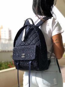 Mochila Chanel Tweed Nylon Astronaut Navy Blue