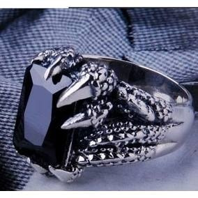 Anel Gótico Obsidiana Aço 316l Aros 22 E 31