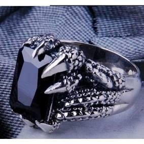 Anel Gótico Obsidiana Aço 316l Aro 31