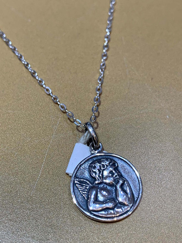 Medalla Angelito Pesador Con Cadena, Plata 925. Niños. Tuset