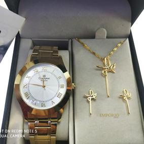 Relógio Champion Feminino Ch24544w + Brinde Colar / Brincos