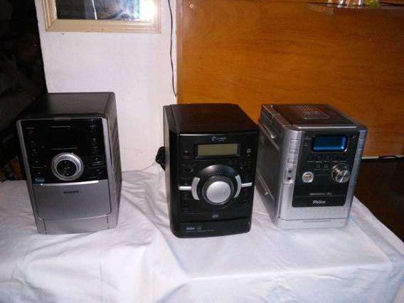 Lote De Três Micro System Um Philips Um Cyber Um Philco