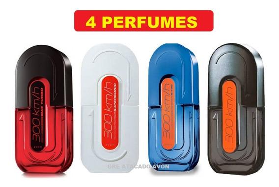 Kit 4 Perfumes Masculino Avon 300km Nitro, Turbo + Supersoni