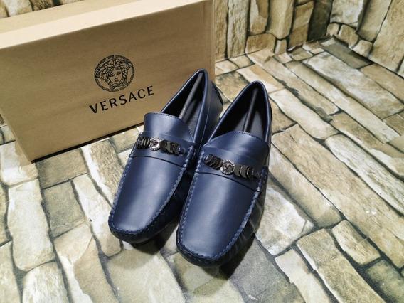 Mocasines Versace Blue Con Envio Regalado