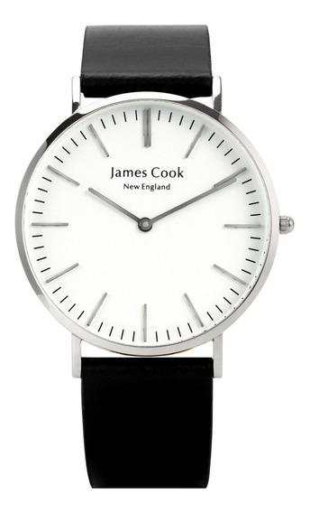 Relógio Masculino Couro Preto Sem Costura Prata