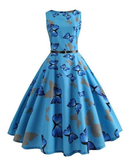 Verano Mariposa Romántica Impreso Pin Up Vestido Cielo Azul