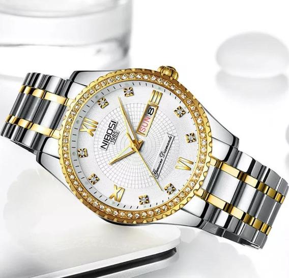 Relógios Feminino Nibosi Dourado Analógico Com Caixa
