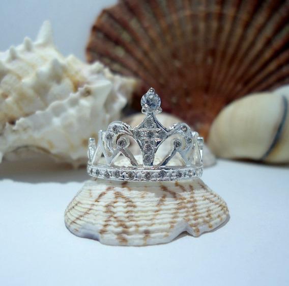 Anillo De Corona Reina Con Cironias En Plata Pura Ley 925