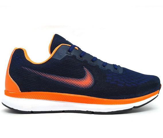 Tênis Nike Zoom Pegasus 34 Azul Marinho E Laranja Original!