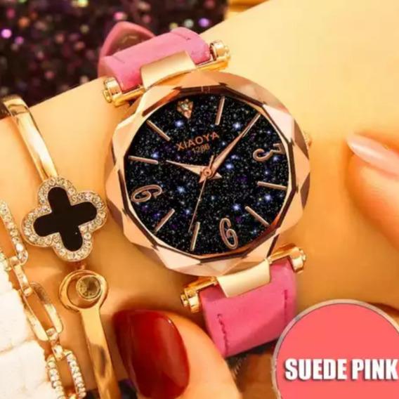Relógio Feminino Ceu Estrelado Mod Novo Bracelete +caixinha