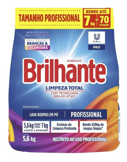 Lava-roupas Em Pó Brilhante Limpeza Total Pro - 5.6kg