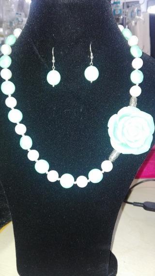 Collar Con Aretes Perla Swarovski, Cristal Checo Perlas #684