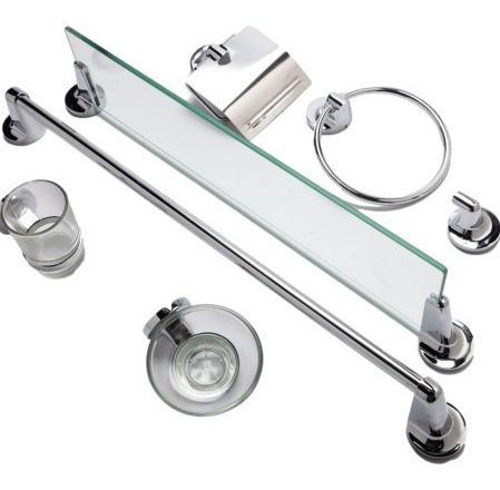 Imagen 1 de 3 de Kit Accesorios Para Baño Tauro 7 Piezas Metalico Repisa