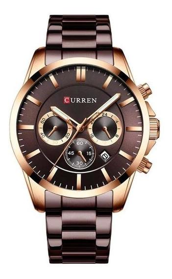 Relógio Masculino Curren 8358 Bronze Casual Aço Inoxidável