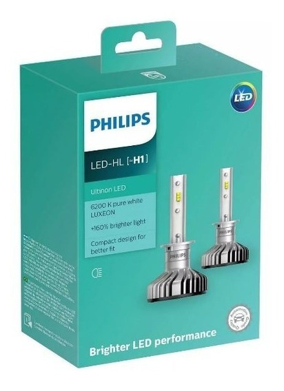 Par Lâmpada Philips Ultinon Led H1 6200k Branca Traseiro