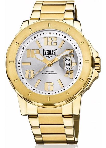 Relógio Everlast Masculino Dourado Analógico E643