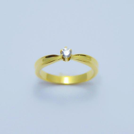 Anel Solitário Em Ouro 18k Diamante 0.10 Cts