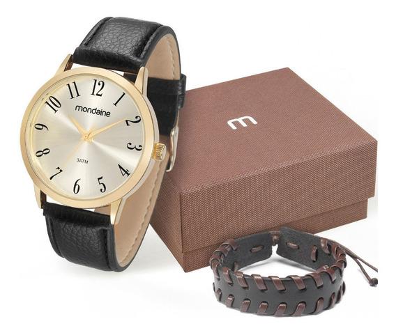 Relógio Masculino Kit Pulseira Couro Mondaine 83286gpmvdh2k2