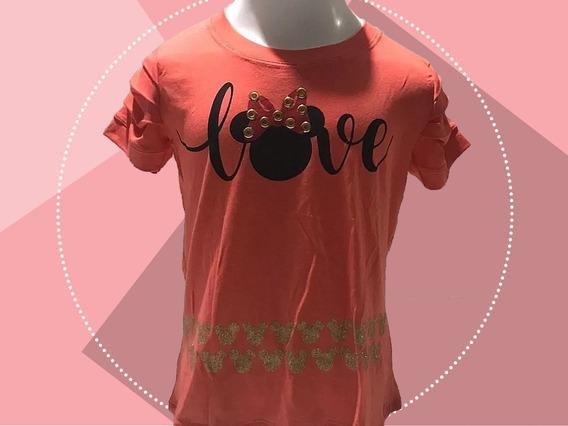 Blusa Infantil Com Estampa Love Minnie Laranja
