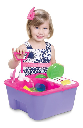 Pia Cozinha Infantil Brinquedo Sai Água C/ Louças