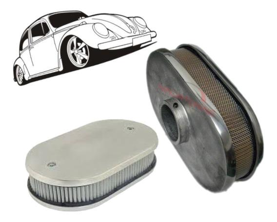 Filtro De Ar Esportivo Oval Em Aluminio Para Fusca - 52mm