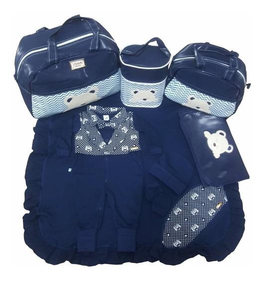 Kit Bolsa Maternidade Luxo 4pc + Saida Completa Azul Marinho