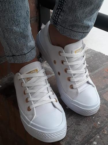 c8f0b138 Converse All Star Cuero Blanco - Tenis Converse para Mujer en ...