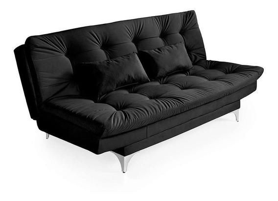 Sofá-cama 3 Lugares Casal Com Chaise Versátil Veludo Lis...