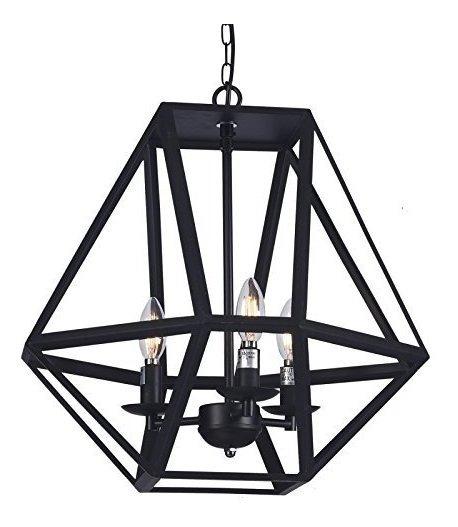 Wideskall - Lámpara De Araña Industrial (3 Bombillas, Pantal