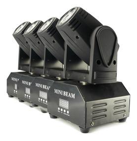 Kit 4 Mini Beam Moving Head Led 12w Cree Rgbw Dmx Strobo Pro