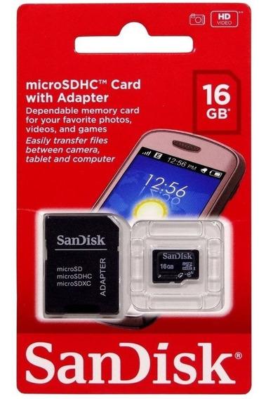 Micro Cartão De Memória Sandisk 16gb Class 4 + Adaptador Sd