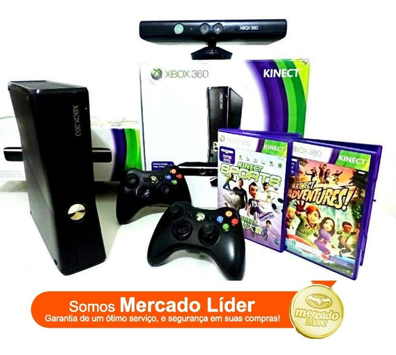 Xbox 360 Slim + 2 Controles + Kinect + 3 Jogos Frete Gratis