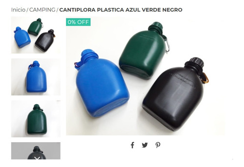 Cantiplora Plastica Azul Verde Negro