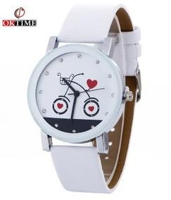 Relógio Feminino Oktime Pulso Quartz Analógico Couro Branco