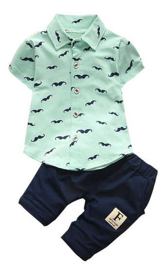 Conjunto Casual Ropa Para Bebé Niño Camisa Y Short