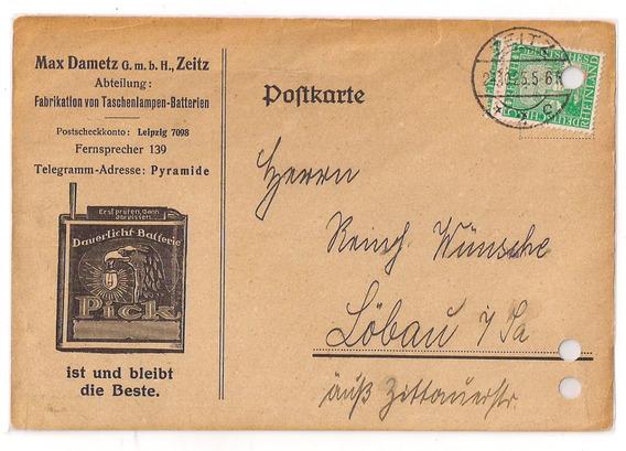 Alemania Tarjeta Con Publicidad De Bateria De Luz Pick 1925