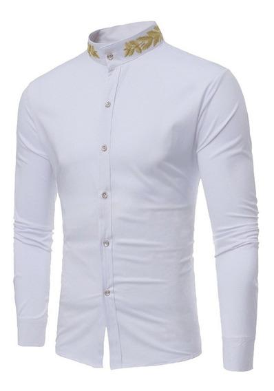 Camisa Hombre Cuello Mao Bordado Tela Tipo Satin