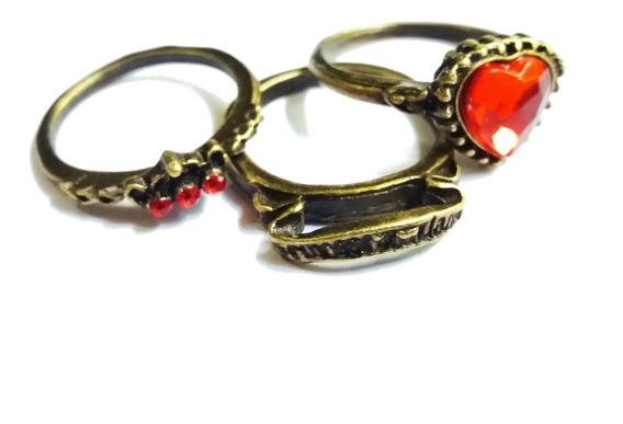 Kit 3 Anéis Vitoriano Retro Vintage Coração Coroa Ouro Velho