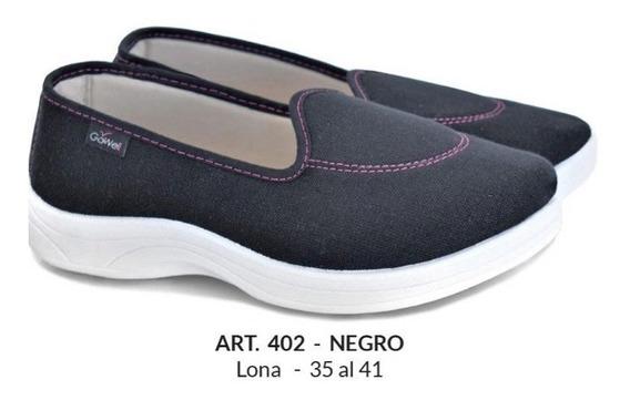 Zapatillas Pancha Mujer Con Taco Gowell 35-41 Art 402