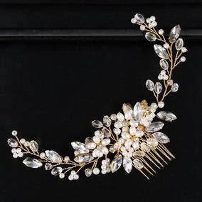 Arranjo Grinaldas Cabelo Noiva Casamento Pérola Cristal 2019
