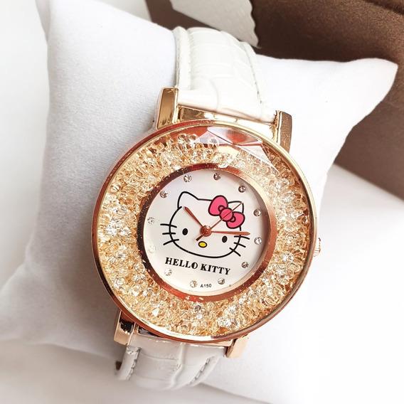 Reloj Pulsera Hello Kitty Blanco Con Cristales Envio Gratis